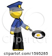 Yellow Police Man Frying Egg In Pan Or Wok Facing Right