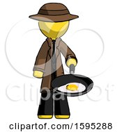 Yellow Detective Man Frying Egg In Pan Or Wok