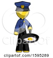Poster, Art Print Of Yellow Police Man Frying Egg In Pan Or Wok