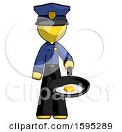 Yellow Police Man Frying Egg In Pan Or Wok