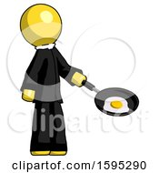Yellow Clergy Man Frying Egg In Pan Or Wok Facing Right