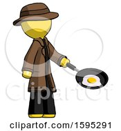 Yellow Detective Man Frying Egg In Pan Or Wok Facing Right