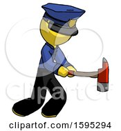 Yellow Police Man With Ax Hitting Striking Or Chopping