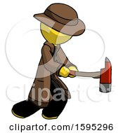 Yellow Detective Man With Ax Hitting Striking Or Chopping