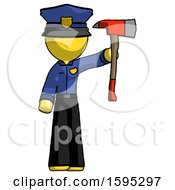 Yellow Police Man Holding Up Red Firefighters Ax
