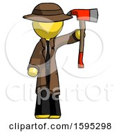Yellow Detective Man Holding Up Red Firefighters Ax