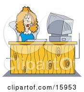 Poster, Art Print Of Female Receptionist Wearing A Headset And Taking A Call While Seated At A Computer Desk In An Office