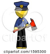 Yellow Police Man Holding Red Fire Fighters Ax