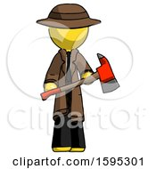 Yellow Detective Man Holding Red Fire Fighters Ax