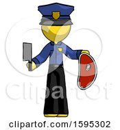 Yellow Police Man Holding Large Steak With Butcher Knife