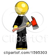 Yellow Clergy Man Holding Red Fire Fighters Ax