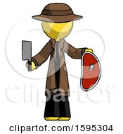Yellow Detective Man Holding Large Steak With Butcher Knife