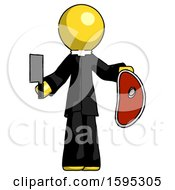Yellow Clergy Man Holding Large Steak With Butcher Knife