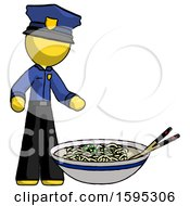 Yellow Police Man And Noodle Bowl Giant Soup Restaraunt Concept