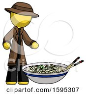 Yellow Detective Man And Noodle Bowl Giant Soup Restaraunt Concept