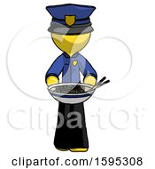 Yellow Police Man Serving Or Presenting Noodles
