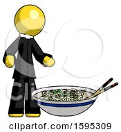 Yellow Clergy Man And Noodle Bowl Giant Soup Restaraunt Concept