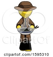 Yellow Detective Man Serving Or Presenting Noodles