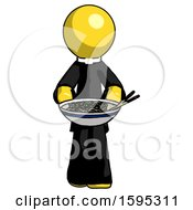 Yellow Clergy Man Serving Or Presenting Noodles