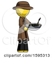 Yellow Detective Man Holding Noodles Offering To Viewer