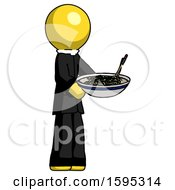 Yellow Clergy Man Holding Noodles Offering To Viewer