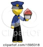 Yellow Police Man Presenting Pink Cupcake To Viewer