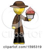 Yellow Detective Man Presenting Pink Cupcake To Viewer