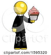 Yellow Clergy Man Presenting Pink Cupcake To Viewer