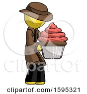 Yellow Detective Man Holding Large Cupcake Ready To Eat Or Serve