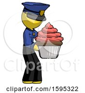 Yellow Police Man Holding Large Cupcake Ready To Eat Or Serve
