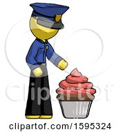 Yellow Police Man With Giant Cupcake Dessert