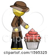 Yellow Detective Man With Giant Cupcake Dessert