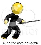 Yellow Clergy Man Stabbing With Ninja Sword Katana