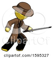 Yellow Detective Man Stabbing With Ninja Sword Katana