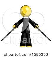 Yellow Clergy Man Posing With Two Ninja Sword Katanas