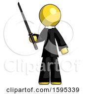 Yellow Clergy Man Standing Up With Ninja Sword Katana