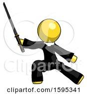 Yellow Clergy Man With Ninja Sword Katana In Defense Pose