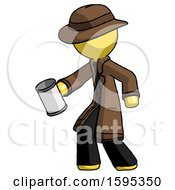 Yellow Detective Man Begger Holding Can Begging Or Asking For Charity Facing Left