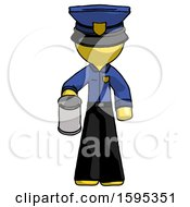 Yellow Police Man Begger Holding Can Begging Or Asking For Charity