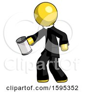 Yellow Clergy Man Begger Holding Can Begging Or Asking For Charity Facing Left