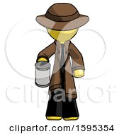 Yellow Detective Man Begger Holding Can Begging Or Asking For Charity