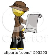 Yellow Detective Man Holding Blueprints Or Scroll
