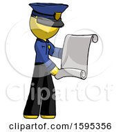 Yellow Police Man Holding Blueprints Or Scroll