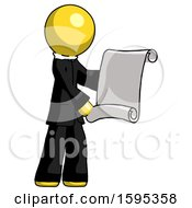 Yellow Clergy Man Holding Blueprints Or Scroll
