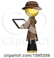 Yellow Detective Man Looking At Tablet Device Computer With Back To Viewer