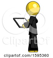 Yellow Clergy Man Looking At Tablet Device Computer With Back To Viewer