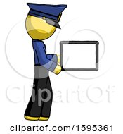 Yellow Police Man Show Tablet Device Computer To Viewer Blank Area