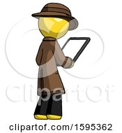 Yellow Detective Man Looking At Tablet Device Computer Facing Away