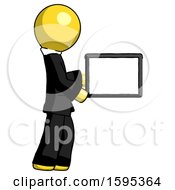 Yellow Clergy Man Show Tablet Device Computer To Viewer Blank Area