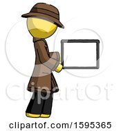 Yellow Detective Man Show Tablet Device Computer To Viewer Blank Area